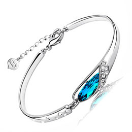 Blue Crystal Bangle Glass Shoes Bangle