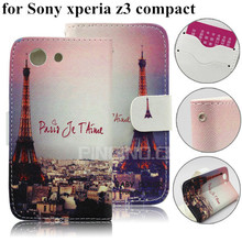 for sony xperia z3 compact case,wallet leather case for sony xperia z3 compact d5803 m55w