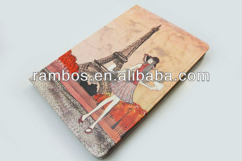 Cartoon Girl Pattern Leather Cover case for iPad mini