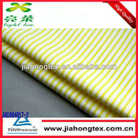 100% cotton yarn dyed fabric price yellow poplin stripe fabric for shirt
