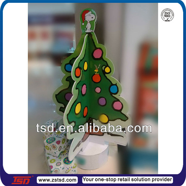 TSD-C667 Custom christmas decorations cardboard christmas tree/ ornament display tree/ floor tree display stand