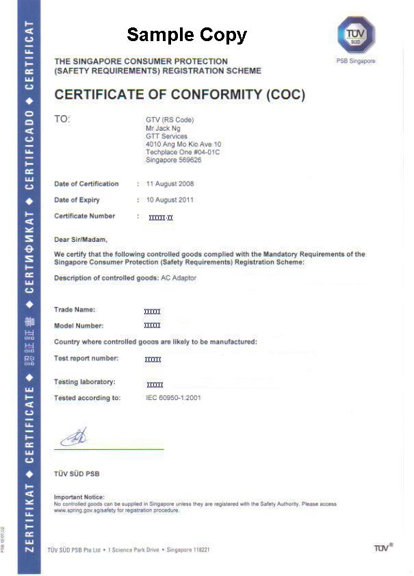 Certificate Of Conformity (Coc) Under Cps Scheme - Buy Certificate