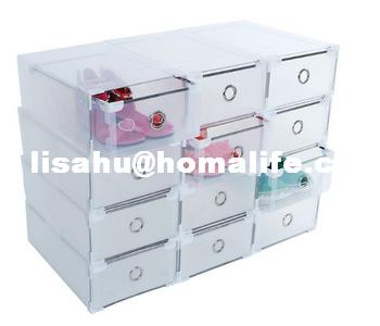 New DIY Plastics PP Shoecase Home Storage Clear Drawer Shoe Boxes Middle Size Metal Edge 31cmx20cm