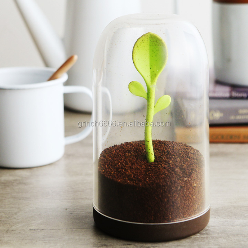Sprout Jar Salt Shaker, Tea Leaves Coffee Sugar Storage Container with Spoon