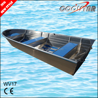 17ft large V bow all welded aluminium alloy fishing bait boat with 2mm hull thickness