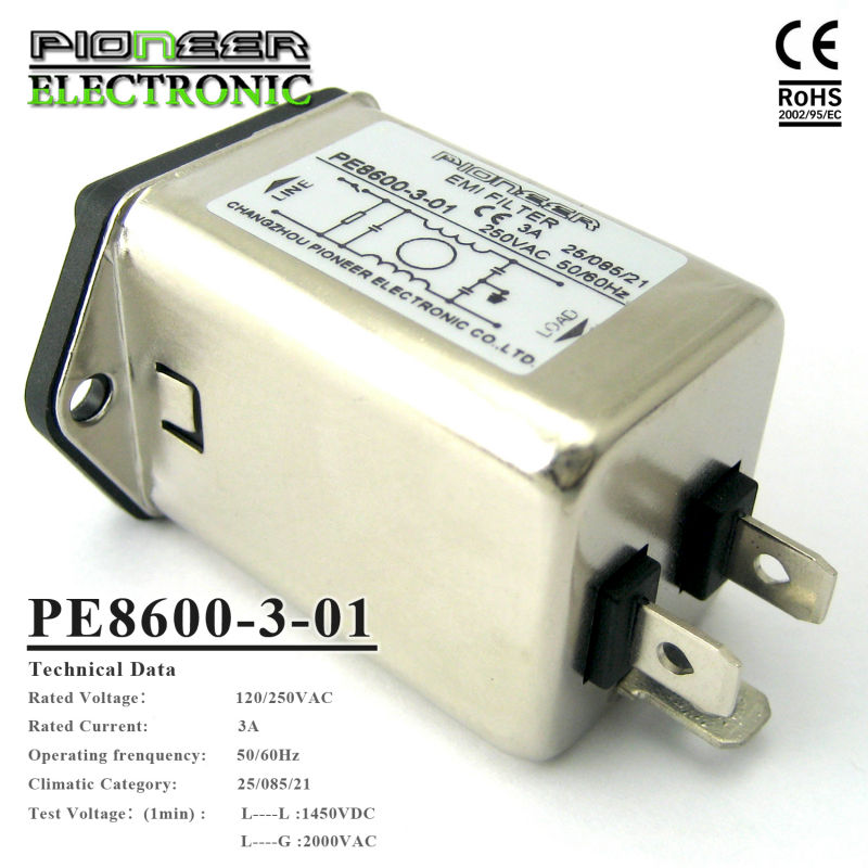 5A Power Entry Modules General purpose Low Pass Mains Switch PE8600 EMI Filter