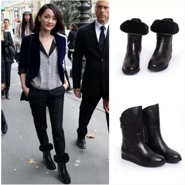 C87884A Women Winter PU Boots Sexy lady flat shoes winter ankle boots