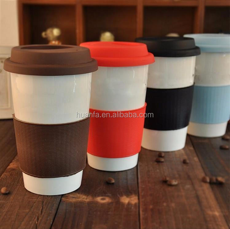 Cheap promotion!Double wall ceramic cup travel water coffee cup heat insulated cup with silicone case and lid custom logo