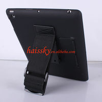 tablet PC stand case with elastic hand strap for new ipad