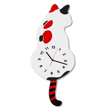 Hight Quality Pendulum Clock Adorable Cat Wall Clock With Swishing Tails Cat Wags its Tail Wall Watch Tail Pendulum Wall Clock