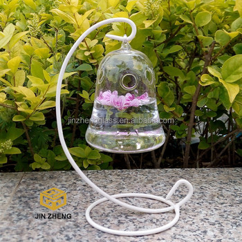 Low MOQ Clear bell shape Hanging Glass Flower Plant Vase Hydroponic Container Pot Home Decoration