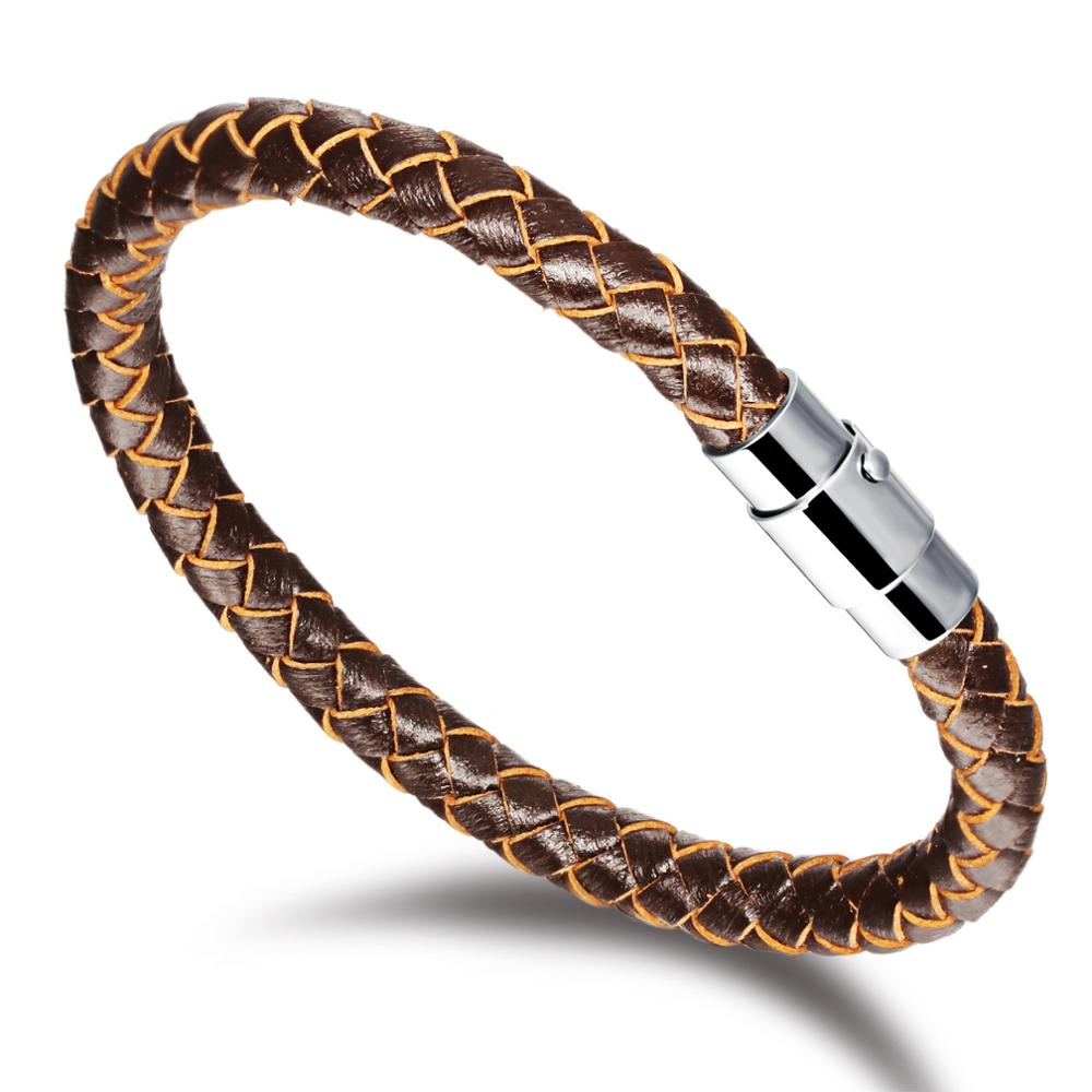 Cool Fashion Braided Leather Titanium Bracelet Cuff Jewelry Gifts <strong>Accessories</strong> finding For Men