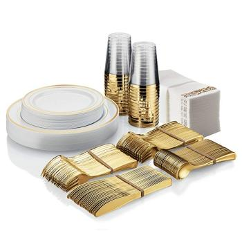25 Guest Disposable Gold Dinner ware Set Heavy Duty Plastic Plates, Cups, Silverware & Napkins flatware set