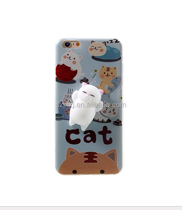 Squishy Cat 3D Cute Soft Silicone Poke Squishy Cat Phone Back Cover for iPhone 6 /for iPhone 6S