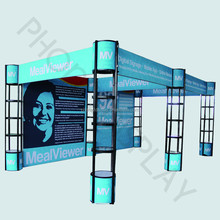 6*3m Exhibition booth display system with spiral tower stands and fabric banner wall easy set up recycling and reuse