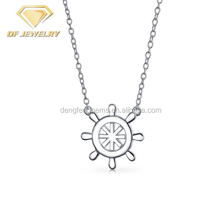 925 Silver Nautical Ship Wheel Pendant Necklace