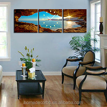 seascape with sunrise nature picture canvas painting large wall clock for photo printing living room art work wholesale big size