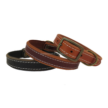 Simple Design Edge Grinding Grain Genuine Leather Dog Collar with Antique Finishing Buckle