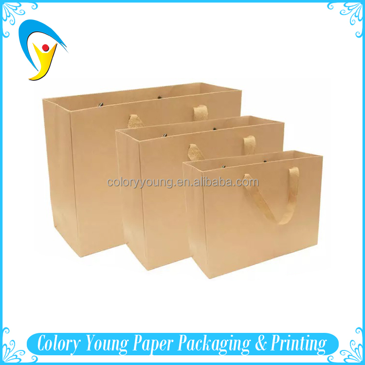 Manufacturers Custom Printed Brown Kraft Paper Bags With Handles