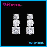 Fashion Jewelry Manufacturer Drop Cubic Zirconia White Gold 3 Stone Diamond Earring