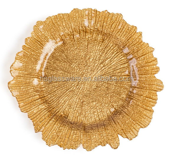 Hot Selling Elegant Wedding Decoration Gold Reef Glass Charger <strong>Plates</strong> Wholesale