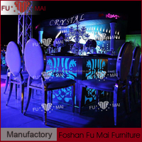 Square shape glass top led table and chair set / LED stainless steel table