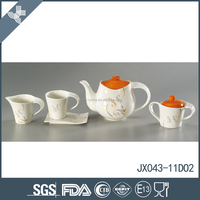 High quality decal printing 15pcs porcelain tea set ,colored teaset, ceramic drinkware