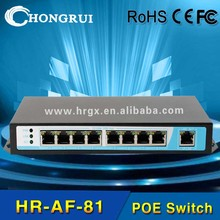 10/100M ieee 802.3 af 8 port layer 3 poe switch with high quality processor