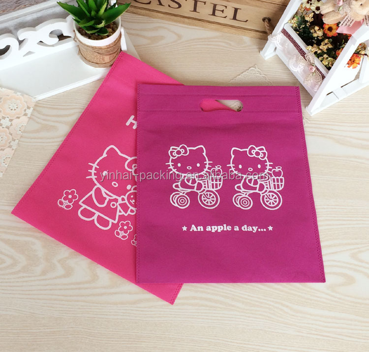 2015 die cut pink Hello kitty non woven bag