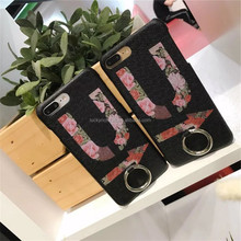 Newest! Super cute! 3D lovely real leather with finger ring cell phone case/back cover for Iphone 5G,5S,5SE,6,6plus,7,7plus