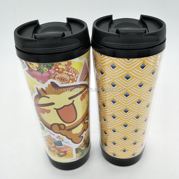 350ml Double Wall Plastic Travel Mug With Photo Insert
