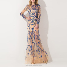 Latest fashion prom dresses 2016 long sexy gown abstract pattern hand-beaded dress sense of perspective