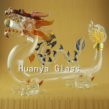 Dragon shaped glass wine bottle