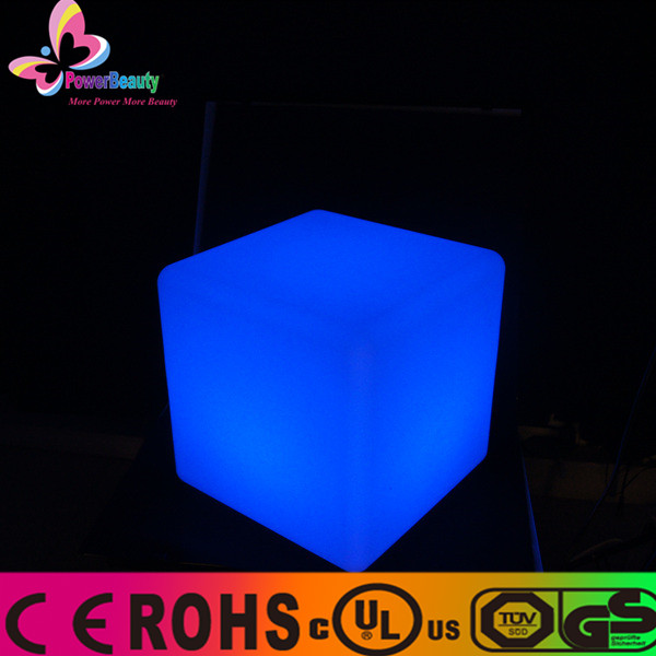 2015 professional waterproof hollow mould clear transparent colored plastic seat outdoor battery powered mini led light cube