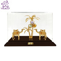 24K gold plated Double Camel with tree in Acrylic Box