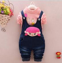 China factory manufacturers Baby clothing wholesale Children Girl's winter thicken blouse +jumpsuits Baby Clothing Set