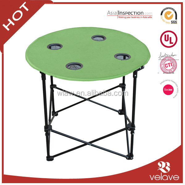 Polyester Round Folding Canvas Table With Cup Holders And