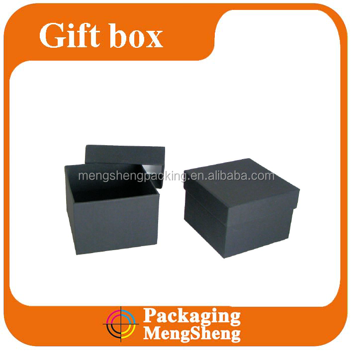 Exquisite black square jewelry ring paper gift top box and bottom packaging