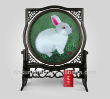 Rabbit-Double-faced embroidery 100% Handmade Silk Xiang Embroidery