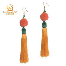 Hot selling handmade fashion jewelry long tassel earrings for women jewelery
