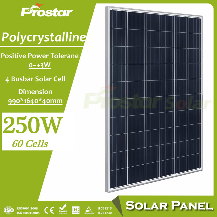 Prostar 60 solar cells poly solar panel 250w from renewable resources