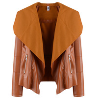 B31093A China factory wholesale ladies brief casual wear loose PU leather jacket