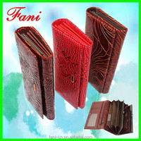 Fashional flowers embossed genuine leather wallet with hinge design for ladies/women