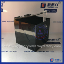 China Yageli wholesale acrylic donation box / black acrylic coin box with lock