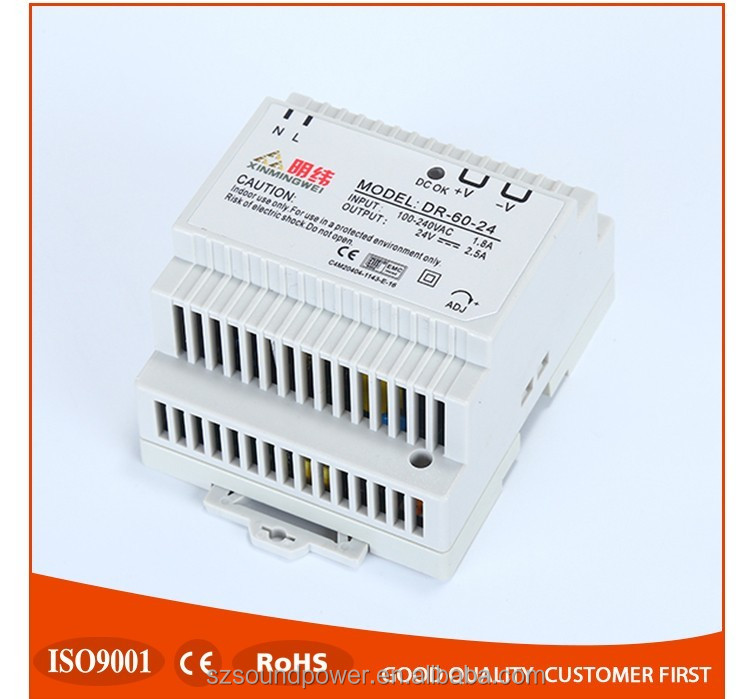 2017 hot sell 220V 60W din rail output 5v 12v 24V switch power supply DR-60-24