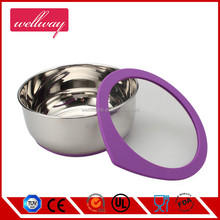 Set of 3 Non-skid base Stainless Steel Mixing Bowl with Silicone Glass Lid