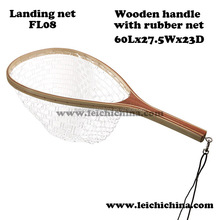 wood rubber bag trout fly fishing landing net