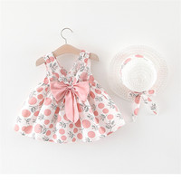summer kid girl clothing backless bow little girl dress new style lovely printed baby girl dress for 2pcs