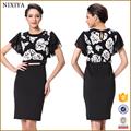 Fancy office style alibaba Black and White Flora Printing Dress for Women