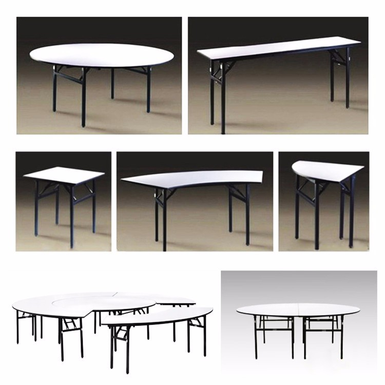 Hot sale high quality12 seater wooden white PVC folding hotel canteen banquet round wedding table